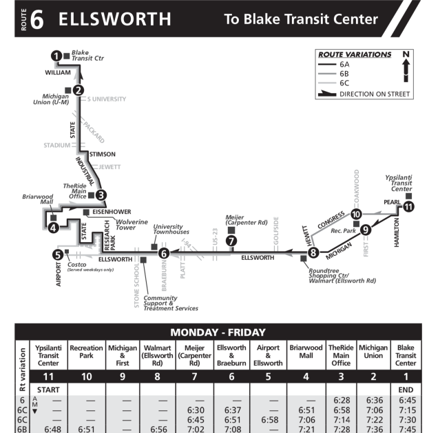 Sample bus schedule for route 6