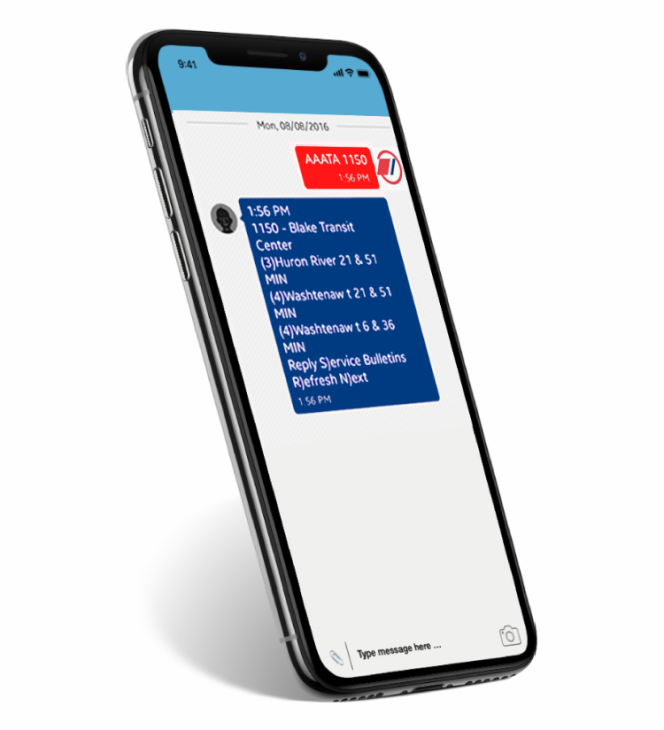 Mobile phone displaying text message updates from TheRide