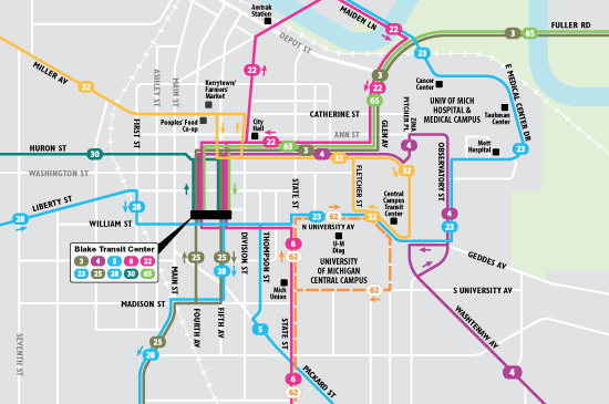 TheRide downtown Ann Arbor system map