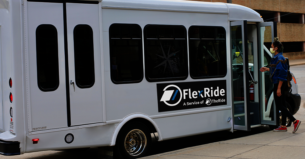 FlexRide bus and rider