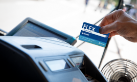 TheRide FlexPass being swiped through farebox